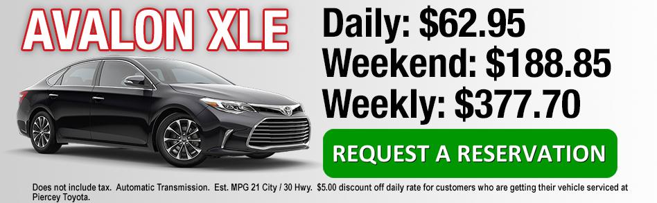 Rent a Toyota Avalon from Piercey Toyota near San Jose
